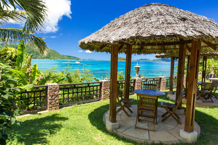 Relaxing at beautiful Coast of Praslin, Seychelles Stock Photo