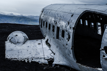 Plane wreck in wilderness Stock Photo