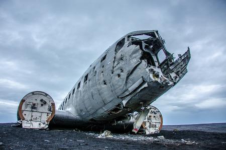 Airplane wreck in desert