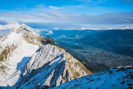 View from Hafelekarspitze at Innsbruck to mountain scenery of Innsbruck valley, Austria
