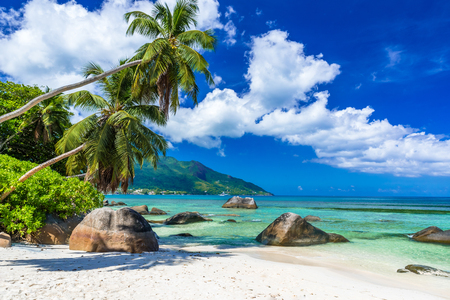 Baie Beau Vallon - Beach on island Mahe in Seychelles Stock Photo - 85157104