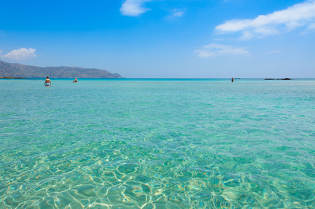 Paradise beach with turquoise water, in Elafonisi, Crete, Greece - Travel destination in Europe Stock Photo