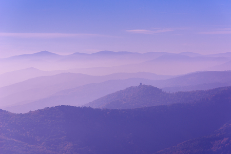 peaks: Landscape of beautiful black forest, Germany. Silhouette of hills close to Alsace, France.