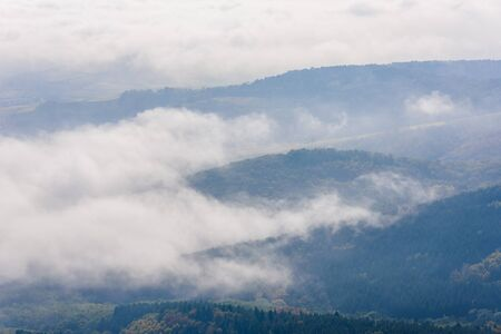 Landscape of beautiful black forest, Germany. Silhouette of hills close to Alsace, France.