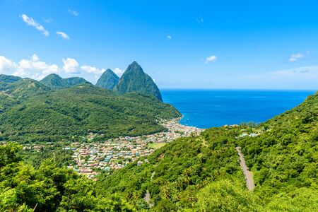 Gros and Petit Pitons near village Soufriere on Caribbean island St Lucia - tropical and paradise landscape scenery on Saint Lucia Stock Photo