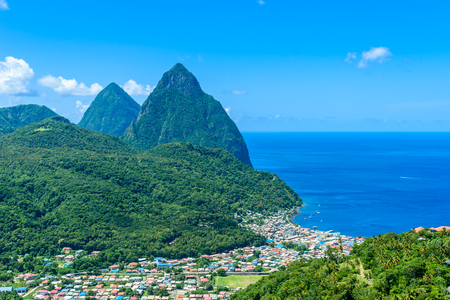 Gros and Petit Pitons near village Soufriere on Caribbean island St Lucia - tropical and paradise landscape scenery on Saint Lucia 스톡 콘텐츠