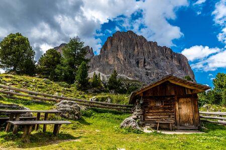 Dolomites Italy - beautiful wooden house