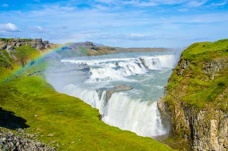 グトルフォスの滝アイスランド 写真素材