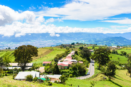 View from Irazu volcano to valley of Cartago - Costa Rica 스톡 콘텐츠