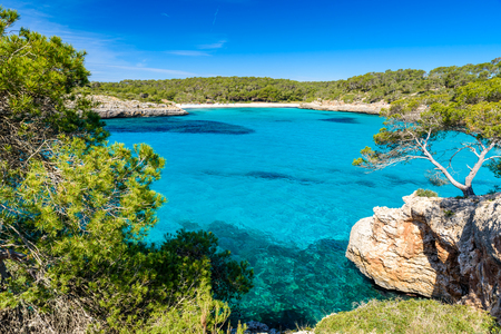 Beautiful Beach of Cala S'Amarador at Mondrago - Natural Park on Majorca Spain, Balearic Islands, Mediterranean Sea, Europe Foto de archivo