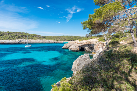 Bay of Cala Mondrago - beautiful beach and coast of Mallorca Stock Photo - 88078614