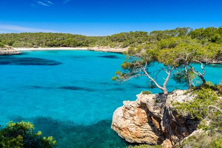 mallorca: Beautiful Beach of Cala SAmarador at Mondrago - Natural Park on Majorca Spain, Balearic Islands, Mediterranean Sea, Europe