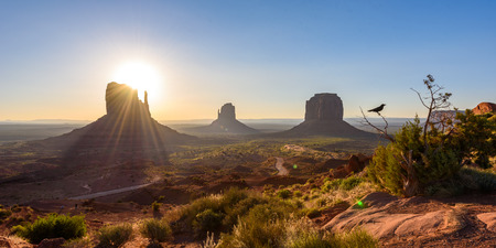 Sunrise at Monument Valley, Panorama of the Mitten Buttes - seen from the visitor center at the Navajo Tribal Park - Arizona and Utah, USA Stock Photo