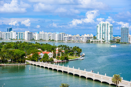 Miami Beach. Aerial view of Rivers and ship canal. Tropical coast of Florida, USA.