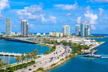 estate: Miami Beach. Aerial view of Rivers and ship canal. Tropical coast of Florida, USA.