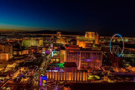 Aerial view of Las Vegas strip in Nevada at night - USA