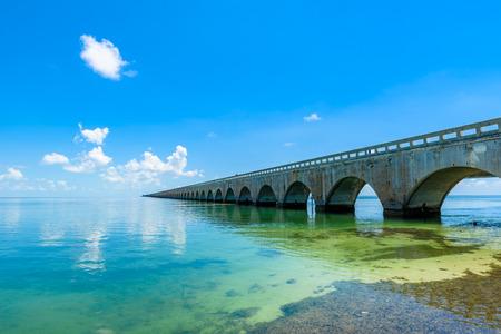Long Bridge at Florida Key's - Historic Overseas Highway And 7 Mile Bridge to get to Key West, Florida, USA Archivio Fotografico