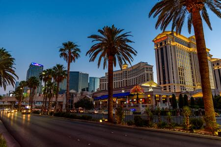Las Vegas strip in Nevada as seen at night USA