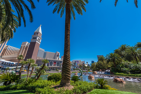 Las Vegas strip in Nevada as seen at sunny summer day, USA