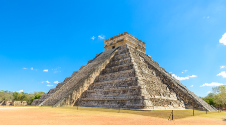 archaeological sites: Chichen Itza - El Castillo Pyramid - Ancient Maya Temple Ruins in Yucatan, Mexico