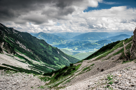 Ellmauer Halt at Wilder Kaiser mountains of Austria - close to Gruttenhuette, an alpine hut, Going, Tyrol, Austria - Hiking in the Alps of Europe