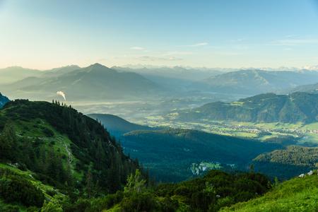 View from Gruttenhuette, an alpine hut on Wilder Kaiser mountains, Going, Tyrol, Austria -  Hiking in the Alps of Europe