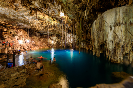 Crystal blue water in Cenote XKeken (XQuequen) in Dzitnup village near Valladolid city - Yucatan Peninsula - Mexico