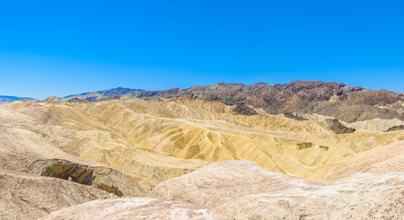 Zabriskie Point - View to the colorful ridges and sand formation at Death Valley National Park, California, USA