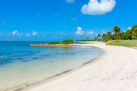 Sombrero Beach with palm trees on the Florida Keys, Marathon, Florida, USA. Tropical and paradise destination for vacation.