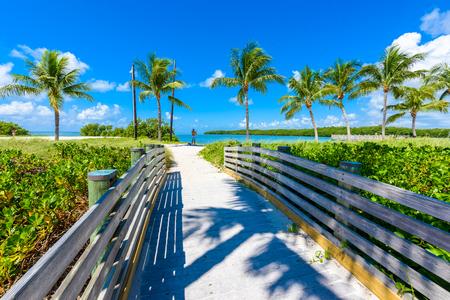 Sombrero-Strand mit Palmen auf den Florida-Schlüsseln, Marathon, Florida, USA. Tropisches und Paradiesziel für Ferien. Standard-Bild - 91169247