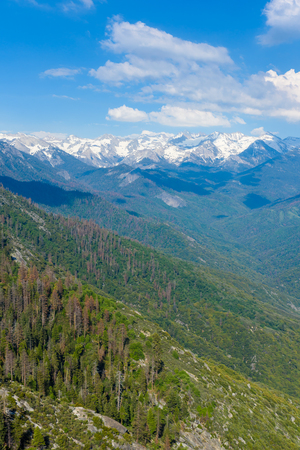The amazing view from Moro Rock to Sierra Nevada, Mount Whitney. Hiking in Sequoia National Park, California, USA Stock Photo