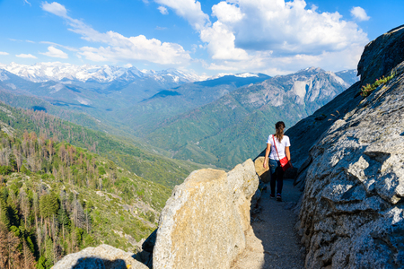 Hiker at Moro Rock. Hiking in Sequoia National Park, California, USA Stock Photo