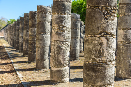 Ruins of Chichen Itza, Columns in the Temple of a Thousand Warriors,  Yucatan, Mexico