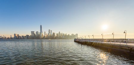 Scenic view to New York, Manhattan over Hudson river from Liberty State Park in wintertime. New Jersey, USA.