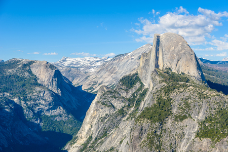 Half Dome rock and Valley from Glacier Point - Panorama View Point at Yosemite National Park in the Sierra Nevada, California, USA