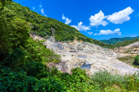 View of Drive-In Volcano Sulphur Springs on the Caribbean island of St. Lucia. La Soufriere Volcano is the only drive-in volcano in the world.