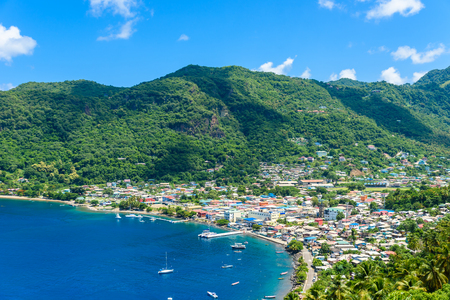 Soufriere Village - tropical coast on the Caribbean island of St. Lucia. It is a paradise destination with a white sand beach and turquoiuse sea. 版權商用圖片
