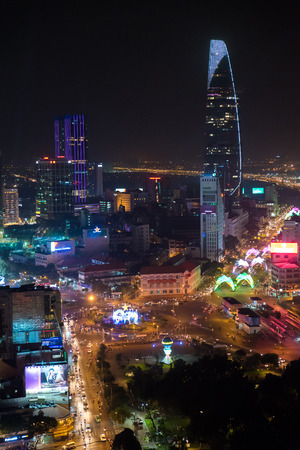Center of Saigon City at night, Ho-Chi-Minh City - Vietnam Editöryel