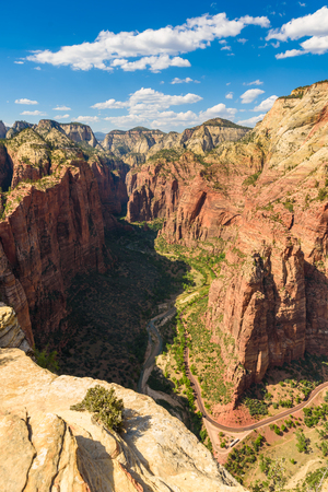 Beautiful scenery in Zion National Park with the virgin river, Hiking along the Angels Landing trail, Utah, USA