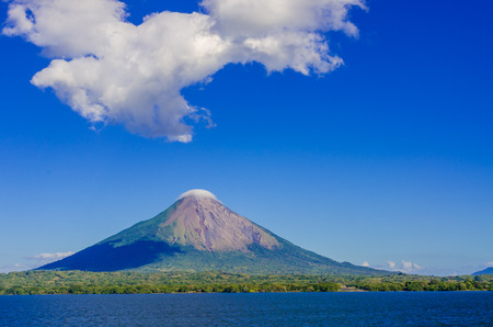 Island Ometepe with vulcano in Nicaragua 스톡 콘텐츠