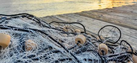 Sieć rybacka na molo Zdjęcie Seryjne