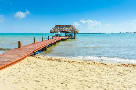 Paradise beach in Placencia, tropical coast of Belize, Caribbean Sea, Central America. Stock Photo