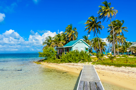 Paradise beach on island caye Carrie Bow Cay Field Station, Caribbean Sea, Belize. Tropical destination. Stock Photo