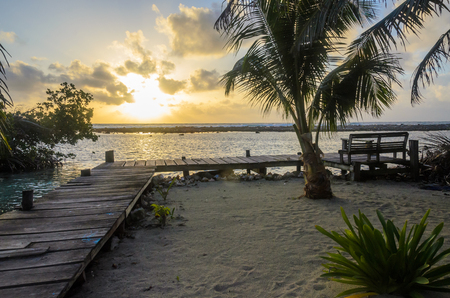 Tobacco Caye - Small tropical island at Barrier Reef with paradise beach, Caribbean Sea, Belize, Central America