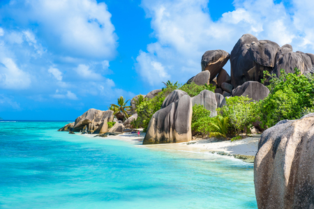 Source d'Argent Beach at island La Digue, Seychelles - Beautifully shaped granite boulders and rock formation - Paradise beach and tropical destination for vacation