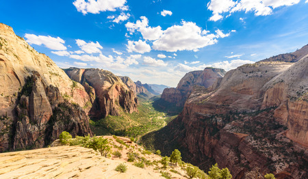 Zion National Park -  hiking in beautiful canyon in summer - amazing landscape scenery with beautiful colors of rock formations Stock Photo