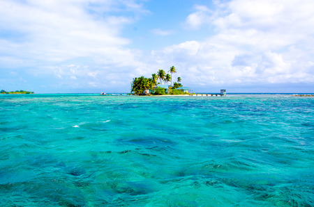 Tropical and paradise small island in the caribbean sea of Belize- Central America Stock Photo
