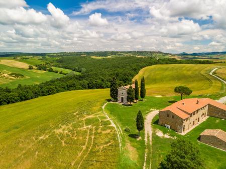 Chapel of Vitaleta (Cappella della Madonna di Vitaleta) in beautiful landscape scenery of Val d Orcia, Tuscany, Italy Stock Photo