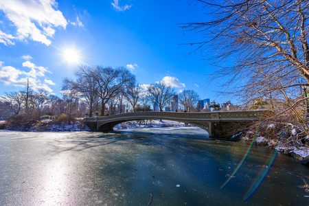 Bow bridge in the winter at sunny day, Central Park, Manhattan, New York City, USA