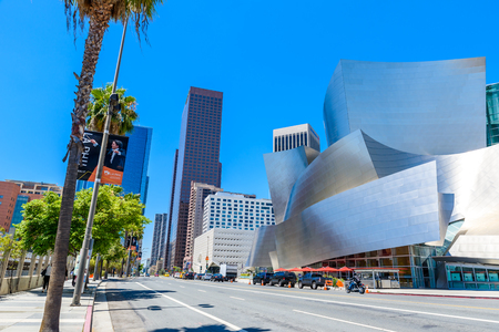 LOS ANGELES, California, USA - June 13, 2017: Walt Disney Concert Hall in downtown Los Angeles designed by Frank Gehry, home of the Los Angeles Philharmonic orchestra and the Los Angeles Master Chorale.
